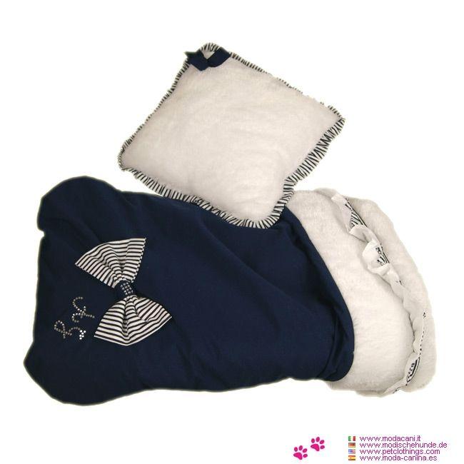 Saco Perro Pequeño y Chihuahua Azul con Cojín - Nueva colección de camas para mascotas y sacos de dormir para Perro Pequeño y Chihuahua: Saco Azul con Pelaje Blanco, con cojin blanco