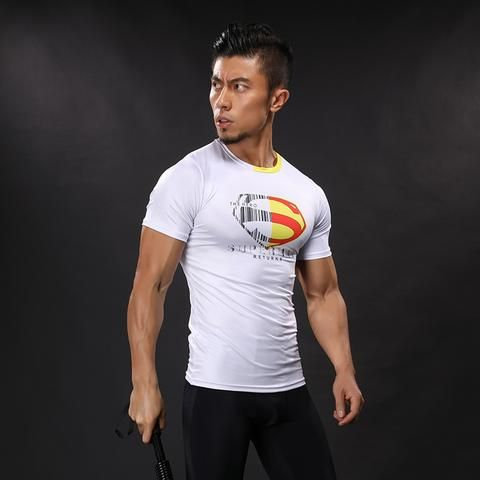 DC Superman Exclusive White Design Compression Short Sleeves Training T-shirt  #DC #Superman #Exclusive #WhiteDesign #Compression #ShortSleeves #Training #T-shirt