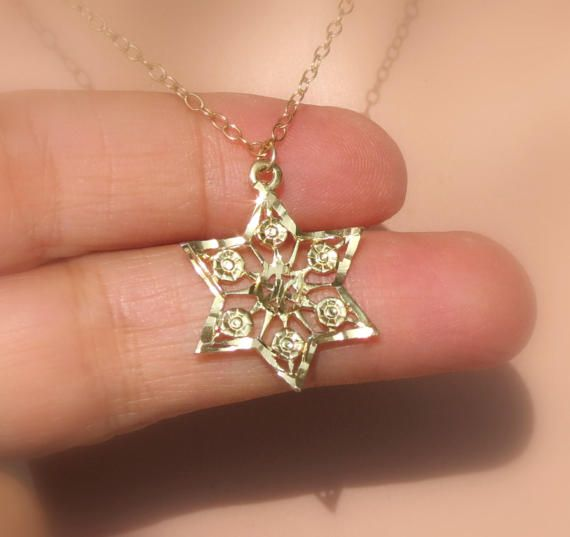 GOLD Star of David Necklace Star of David Pendant by ZmirArts