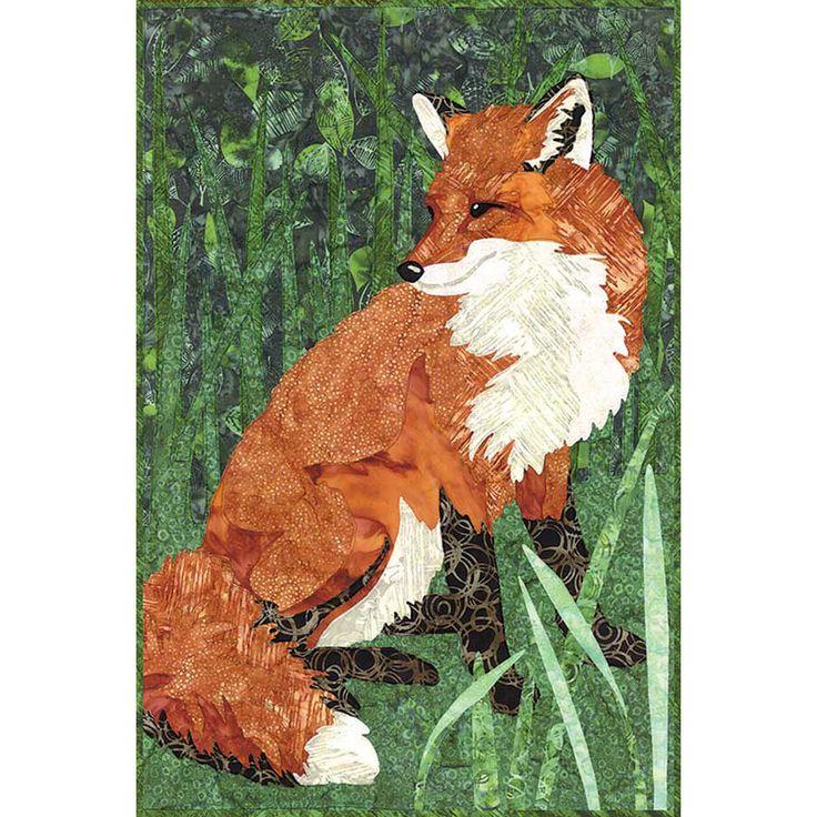 Hoffman Fabrics Wild Open and Sew Quilt Kit Grass Fox 20 x 30