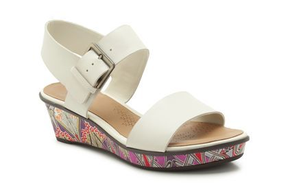 Womens Casual Sandals - Parchment Rose in Cotton Leather from Clarks shoes