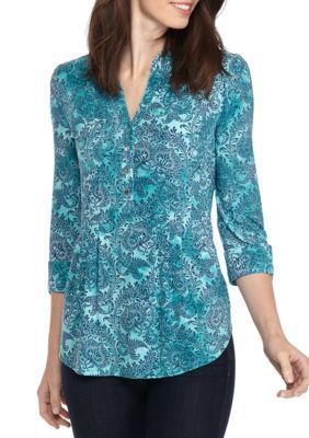 New Directions Women's Three-Quarter Sleeve Jacquard Knit Henley Top - Teal/Navy - Xl