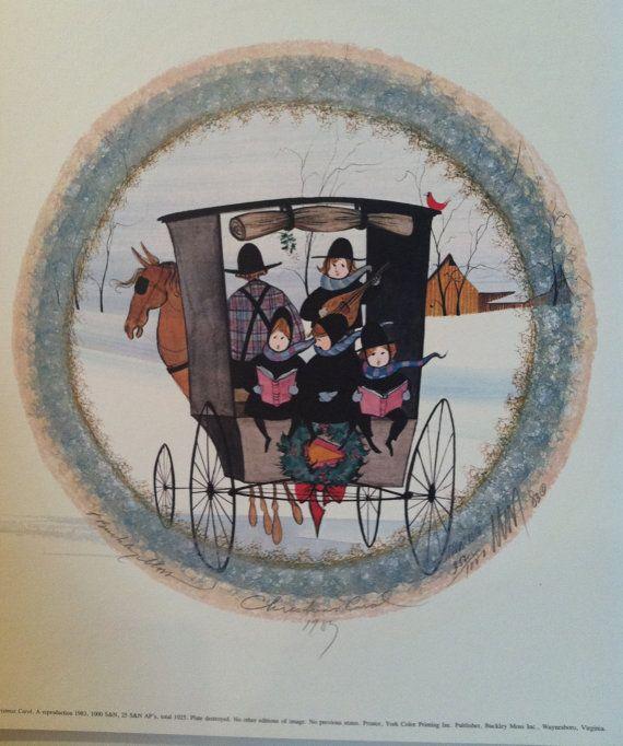 "P Buckley Moss Prints | Rare ""Christmas Carol"" Print. Vintage P Buckley Moss Signed Print"