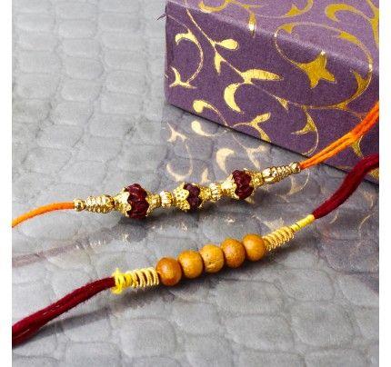 Wooden Beads Rakhi and Rudraksh Rakhi