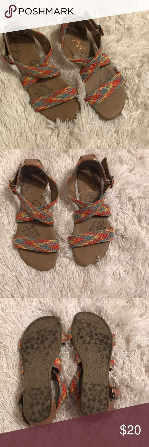 JellyPop multi colored sandals These sandals are so comfortable and cute and have only been worn a handful of times. Straps are a little bent but should shape to your foot with wear 💫 JellyPop Shoes Sandals