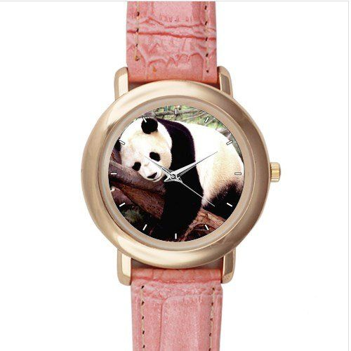 New+Custom+Panda+Pink+Leather+Watch