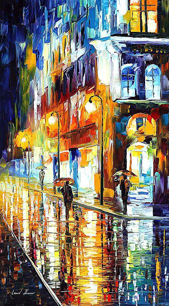Ciudad de la lluvia espátula paisaje escena por AfremovArtStudio