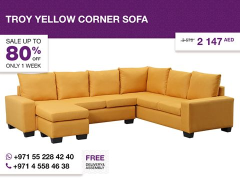 This modern Troy corner sofa creates an elegant yet bright and vivid appearance that will look good in any living space. It features a sturdy base from eucalyptus wood and is designed to provide You excellent comfort. Upholstered in yellow fabric with black plastic legs, it showcases a sleek and contemporary design. More details: http://gtfshop.com/troy-yellow-corner-sofa