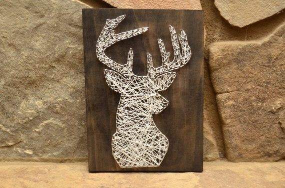 Custom Wood Wildlife Deer Head String Art Home by hwstringart, $40.00