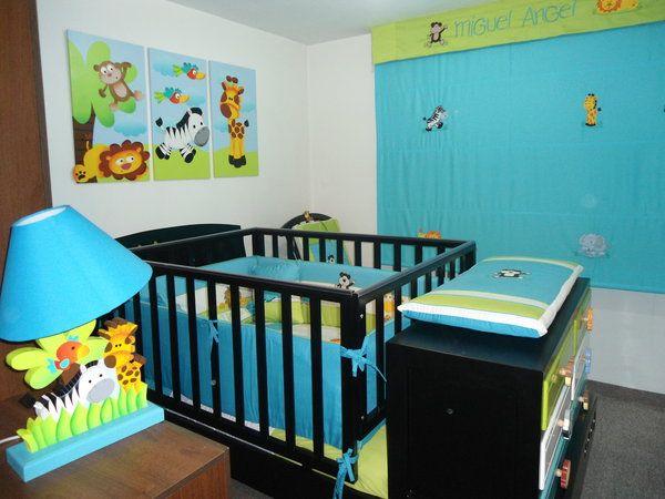 Cuarto infantil con cuna funcional cambiador y accesorios - Decoracion habitacion de bebe nino ...