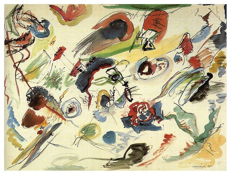 Kandinsky. Untitled (first abstract watercolor). 1910. Paris, G. Pompidou