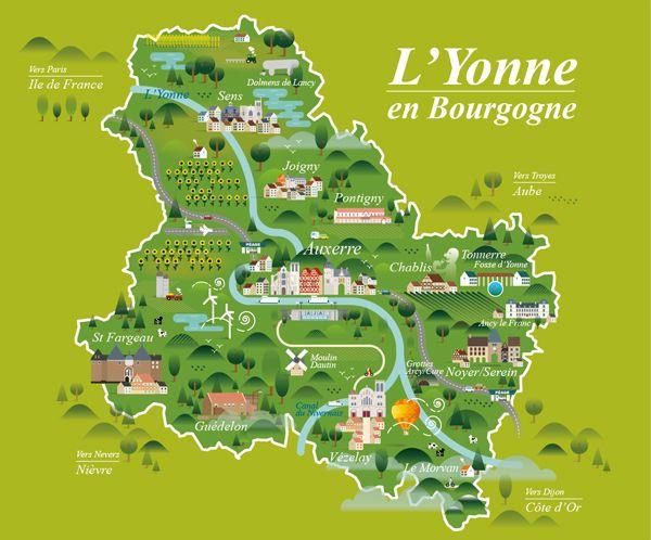 Yonne (Bourgogne - Burgundy) map - full vecto
