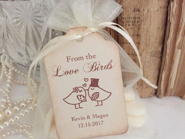Love Birds Bags and Tags Bird Seed Favor Bags Organza DIY Personalized by OnTheWingsPaperie on Etsy https://www.etsy.com/listing/292047027/love-birds-bags-and-tags-bird-seed-favor