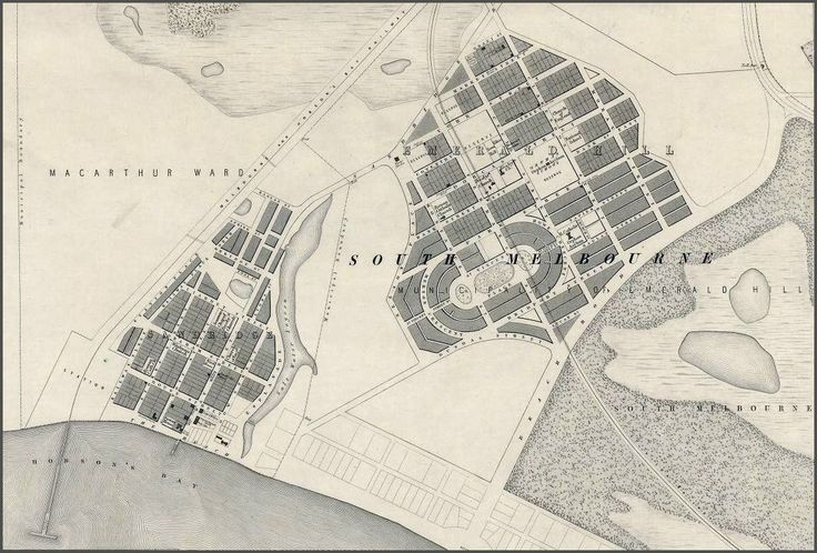 This 1857 map shows what was historically known as Emerald Hill and Sandridge with the area later becoming a part of South Melbourne, Port Melbourne and Albert Park. The map also shows both the Sandridge and St.Kilda rail lines, built by the former Melbourne and Hobson's Bay Railway Company in 1854 and 1857 respectively.  I'll post a 1966, 1984 and 2015 Melway map of the same area in the comments section.  Photo:  State Library of Victoria