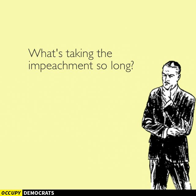 Why aren't the Democrats taking steps to impeach Douche bag Don?