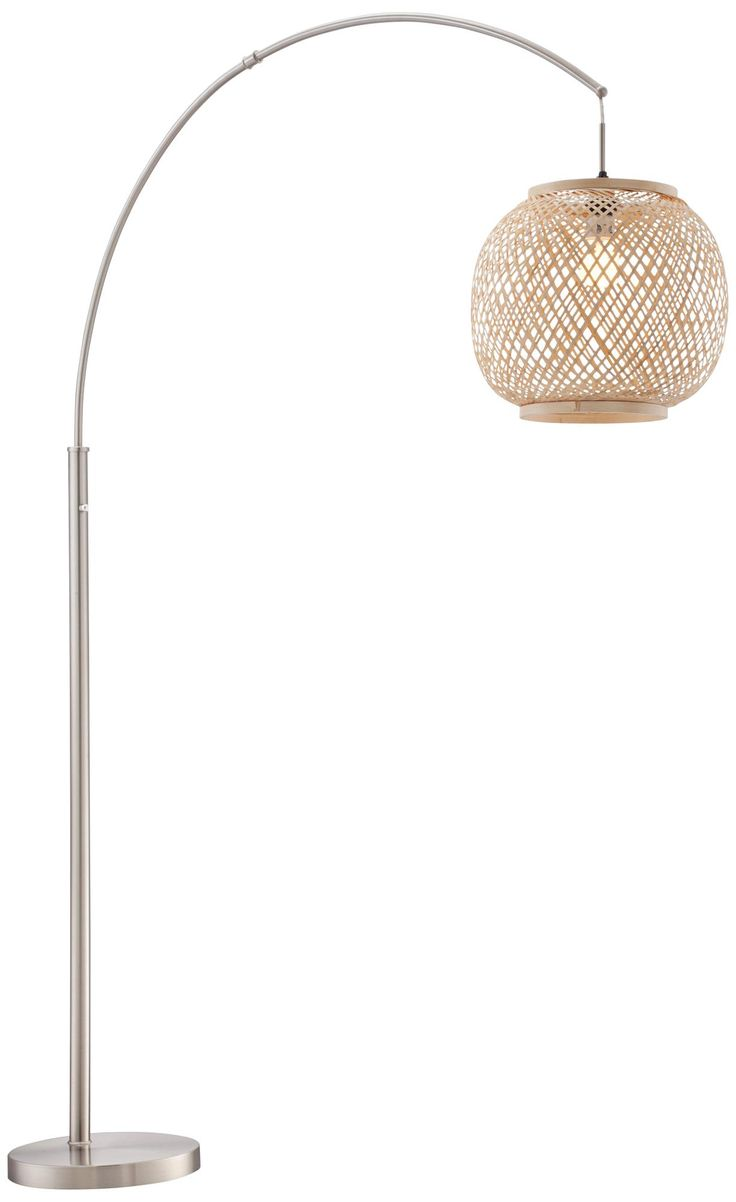 Lite Source Evangeline Rattan Globe Steel Arc Floor Lamp