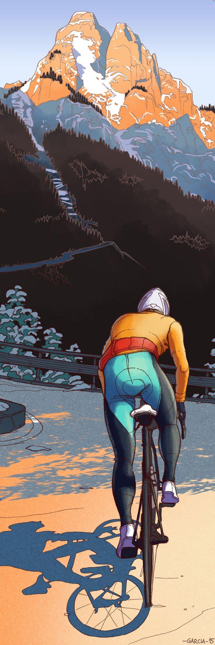 Art by Daniel Garcia- Cycling. (illustration, szosa, calendar, cycling, cyclist, bike, road, mountain)