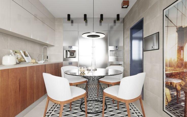 carrelage de sol 3d, table métallique et chaises en bois dans la salle à manger