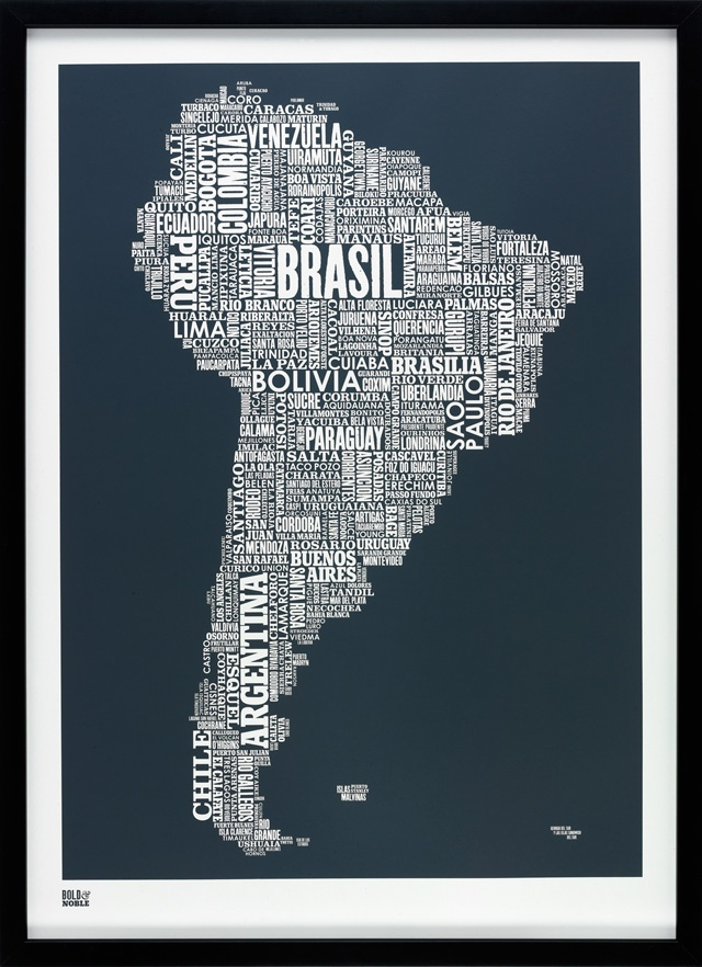 South America Type Map in Sheer Slate