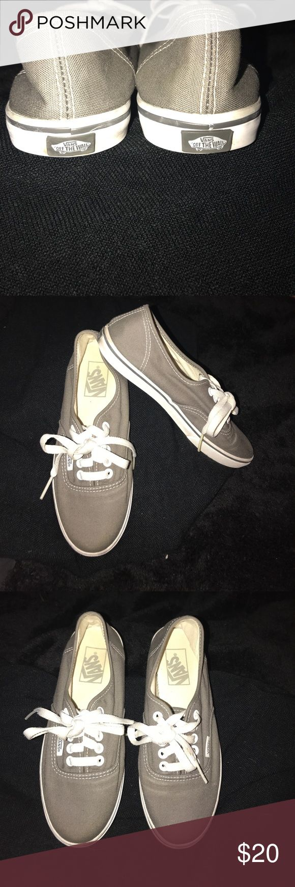 Vans Shoes. unisex. Size 6 Women's. Size 4.5 Mens Excellent condition pre-owned Vans shoes. Gray exterior cloth Material with white trim sole and shoe laces. Size 6 Women's & size 4.5 Men's Vans Shoes Sneakers