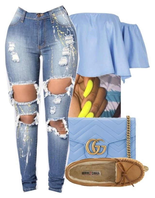 """5/23/17"" by monet-princessa ❤ liked on Polyvore featuring Gucci and Minnetonka"