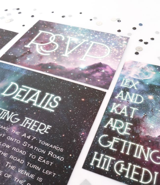 mint&mustard wedding stationery. Nebula collection in Opal. Inspired by the breathtaking image of the Katrina Nebula, this collection is perfect for any love story that's out of this world!