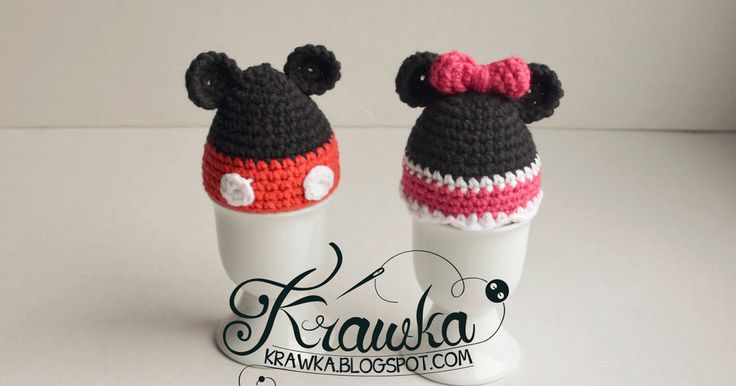 Krawka: Crochet Easter egg warmer/cozy inspired by Mickey Mouse and Minnie. Free crochet pattern to make it yourself.
