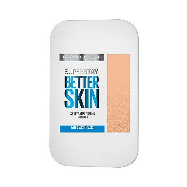 Maybelline Superstay Better Skin Powder Foundation 010 Porcelain, 10... ($8.99) ❤ liked on Polyvore featuring beauty products, makeup, face makeup, maybelline cosmetics, maybelline makeup, maybelline, powder foundation makeup and oil free makeup