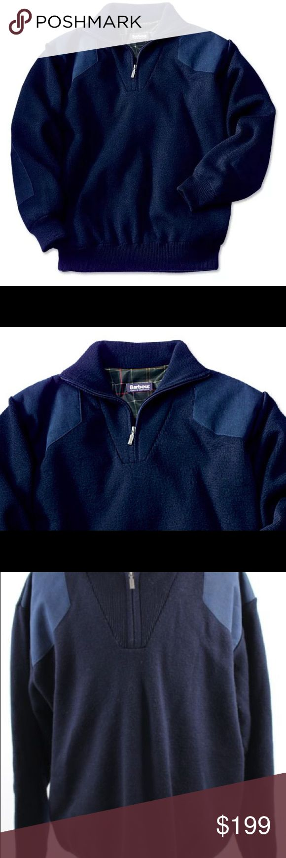 Barbour Storm Sweater $299 NWT NEW Barbour Storm Half Zip Sweater MENS XL Navy Blue Jumper  NEW WITH ORVIS RETAIL TAGS Waterproof, warm, washable half-zip sweater Crewneck pullover sweater Waterproof liner Reinforcing faux suede patches on shoulders and elbows 100% merino wool Machine washable Made in Scotland  Barbour of England: Size Charts for Men's Clothing  England's J. Barbour & Sons Since 1894 Barbour Sweaters Zip Up