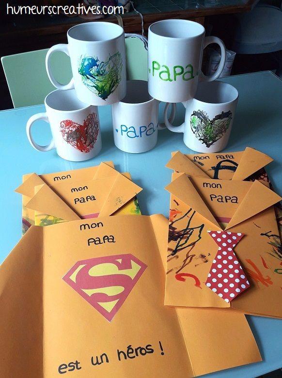 Un mug à décorer et une carte chemise Superman pour la fête des Papas