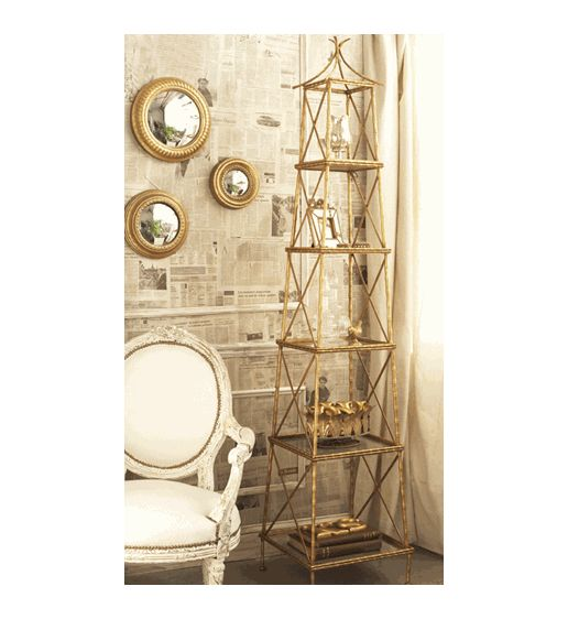 Decor/Accessories - Golden Bamboo 5-Shelf by Two's Company - Organize.com - gold, bamboo, shelf, etagere,
