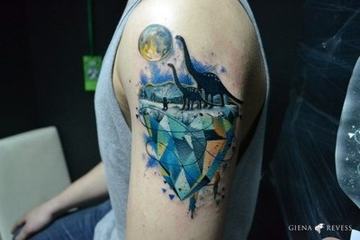 Dinosaur tattoo. So adorable. Water color, dinosaur, and abstract shapes?!??!?# i am in love :)
