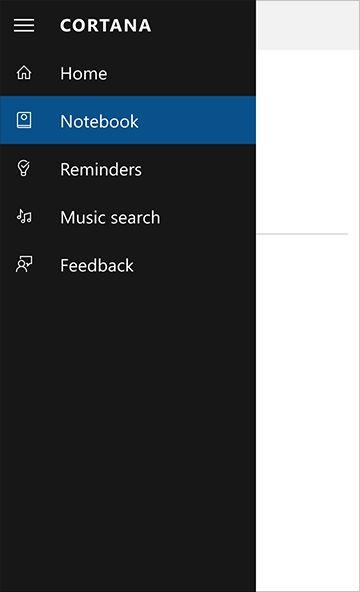 Cortana's settings