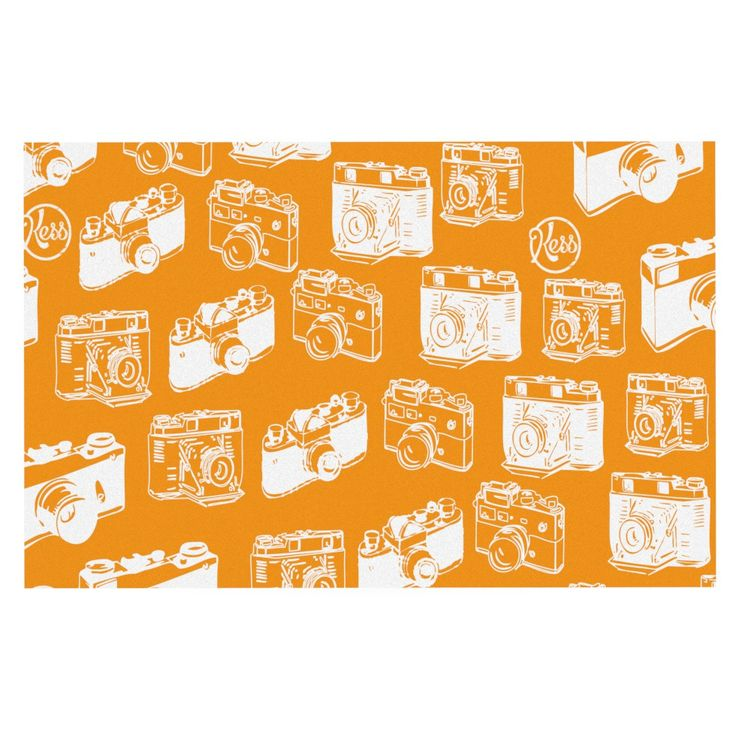 "KESS Original ""Camera Pattern"" KESS Orange Decorative Door Mat"