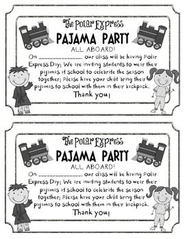 FREEBIE Polar Express Pajama Party Invite. So cute! Wish we could do PJ day at my school.