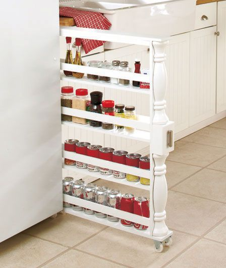 Perfect for Grandma's apt or up at the lake cabin Slim Can and Spice Racks | LTD Commodities: Kitchens, Rolling Slim, Idea, Organization, Kitchen Storage, Holder Kitchen, Spice Racks, Space, Spices