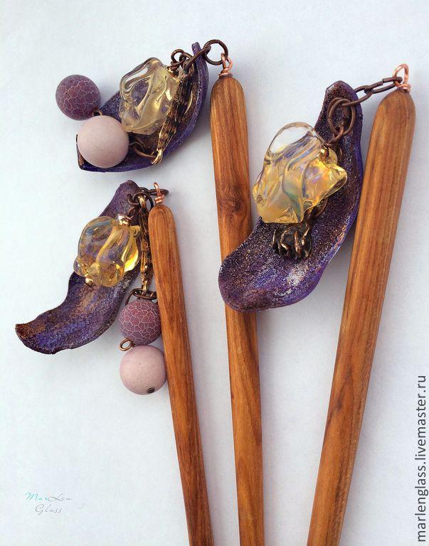 Палочки для волос Канзаши - комплект 3 шт, авторское стекло, ручная работа кожа+дерево. KANZASHI Hair STICKs Art glass, hand carved Wood, Gems, MarLen Glass
