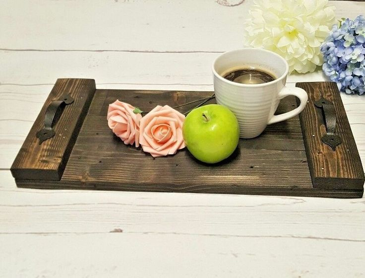 Rustic Serving Tray Black Stain But First Coffee Handmade Reclaimed Coffee table #Rusticstyles