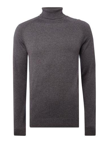 SELECTED-HOMME Rollkragen-Pullover aus Baumwoll-Seide-Mix in Grau / Schwarz online kaufen (9484869) | P&C Online Shop