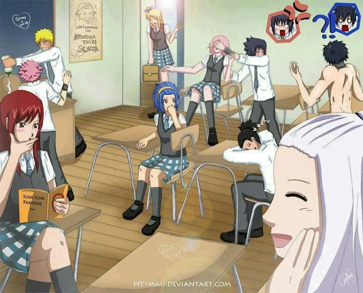 Okay! Tell me a story along this picture line wouldn't be funny to read! Naruto and Fairy Tail!!