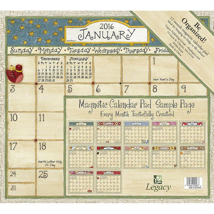 Coming Home Magnetic 2016 Wall Calendar | $9.99 | Coming Home Magnetic Wall Calendar features the delightful country artwork of beloved folk artist Deb Strain. This great organizer works perfectly in the kitchen, because it has a magnetic strip on the back so the pad attaches directly to the refrigerator. Also works on a file cabinet! The 12-month calendar pad features a unique, designed calendar printed on heavy-duty paper to hold up to a whole month's worth of scheduling.