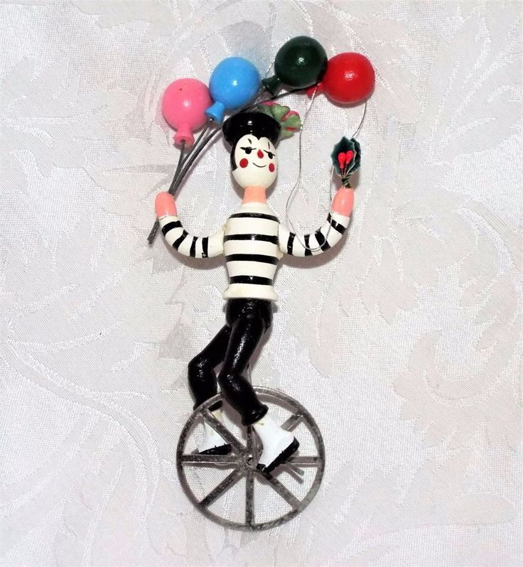 FRENCH MIME TREE ORNAMENT, Vintage NWOT Black & White Clown on Unicycle Balloon  #UNKNOWN