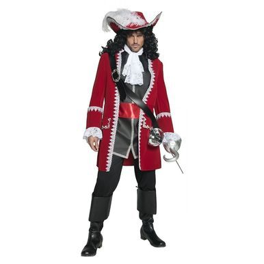 Smiffy's Pirate Captain Hook Red Jacket Adult Mens Halloween Costume 36174