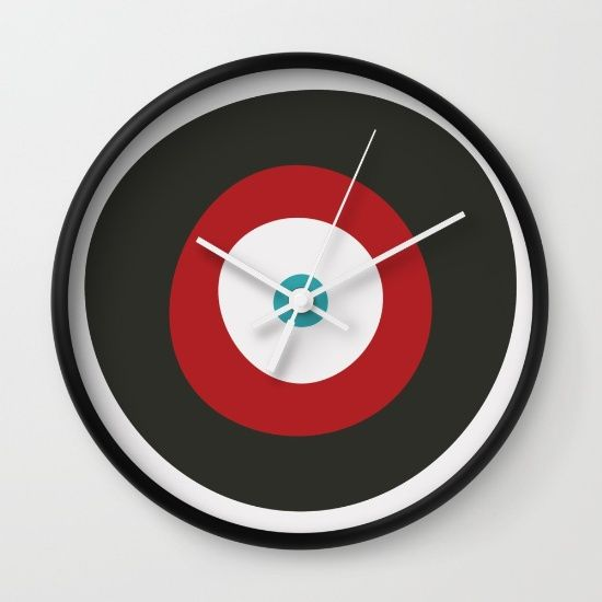Red, Gray, & Blue Targets  Wall Clock