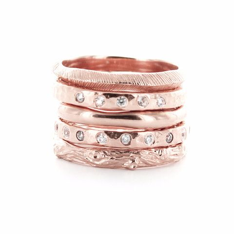 BRAVE | ENDEAR | POISE | LOVE | ADORE STACK RINGS & PENDANTS ROSE GOLD – So Pretty Cara Cotter