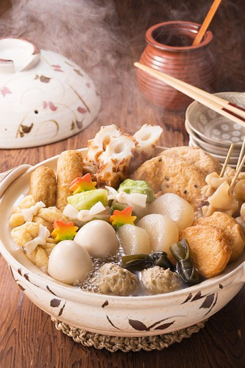 Oden (おでん) - Recipe for the Japanese winter dish consisting of several ingredients such as boiled eggs, daikon, konjac, and processed fishcakes stewed in a light, soy-flavoured dashi broth.