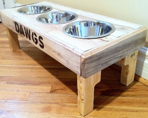 "Reclaimed rustic pallet furniture dog bowl stand pet feeding station with 3 brand new stainless steel bowls.  29 1/2"" L X 12"" W X 11"" T"