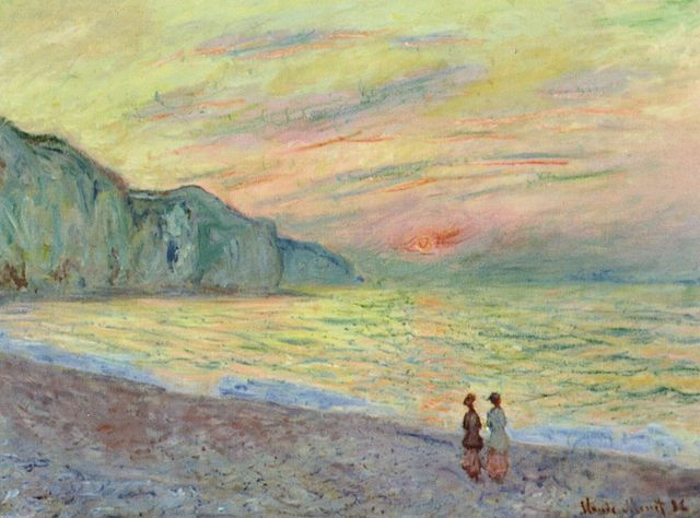 Claude Monet - Sunset at Pourville https://hemmahoshilde.wordpress.com/2015/04/07/monet-wonderful-waterscapes/ <---- You're welcome to read more about the Pourville beach and other places Monet painted on my art blog :).