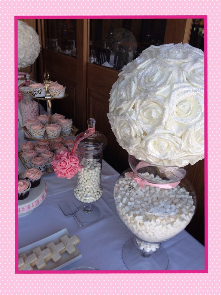 Baby girl baptism -cupcakes cakepops cookies all in pink and white