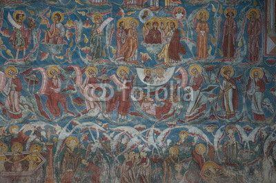 Moldovita Monastery painted wall, Bucovina Romania
